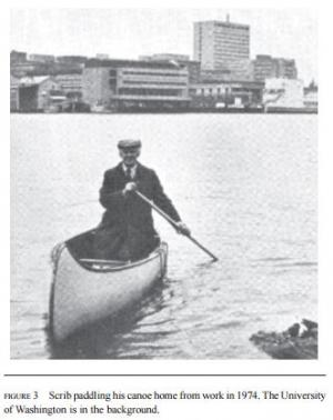 Scribner rowing from UWMC to his houseboat